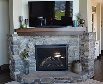 Fireplace project completed by HomeTown Building Center
